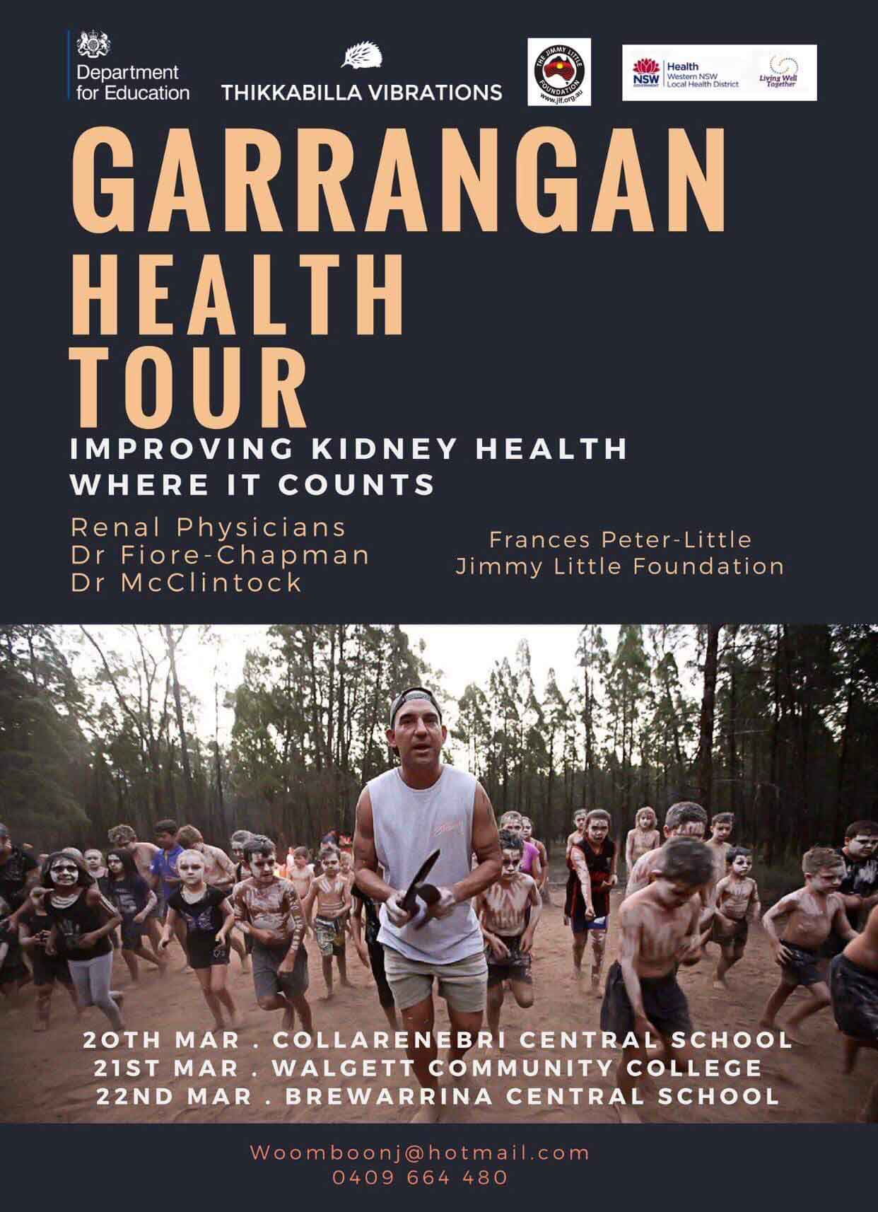 A poster promoting the Garrangan Health tour, with an Aboriginal man making music with two boomerangs and with Aboriginal kids behind him dancing